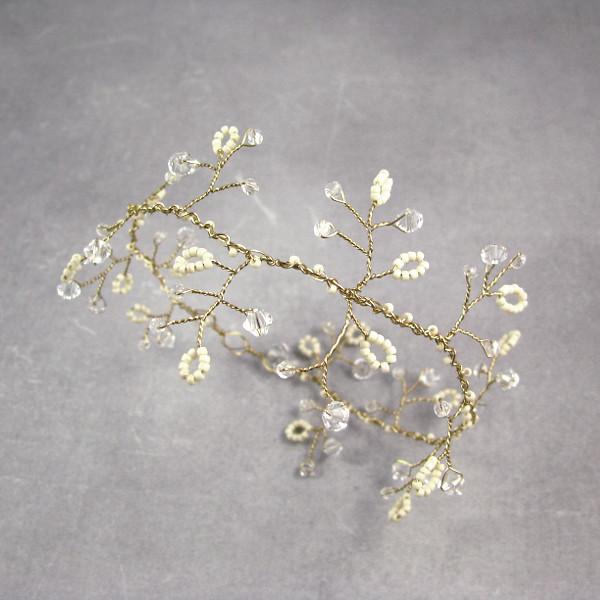 Ślubna ozdoba do włosów - złoto i ecru.