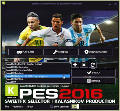 PES 2016 SweetFaX Selector By Kalasnikov Production