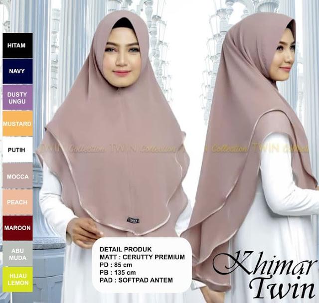 Jilbab Instan KHIMAR Twin Ceruty PREMIUM Branded Murah