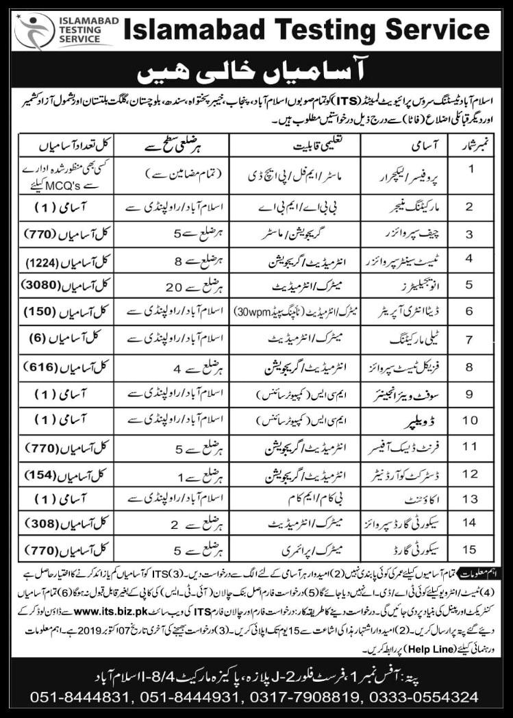 7852+Vacancies Islamabad Testing Service Jobs 2019