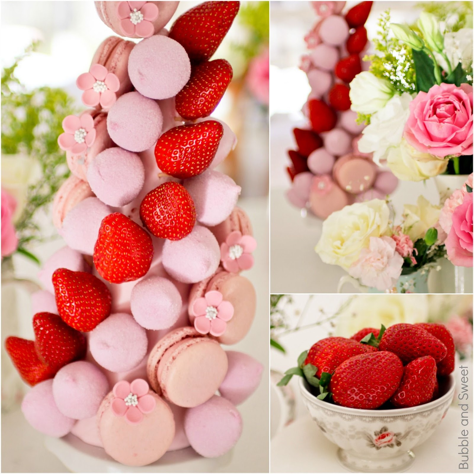 Bubble And Sweet How To Make A Macaron Marshmallow Strawberry Tower