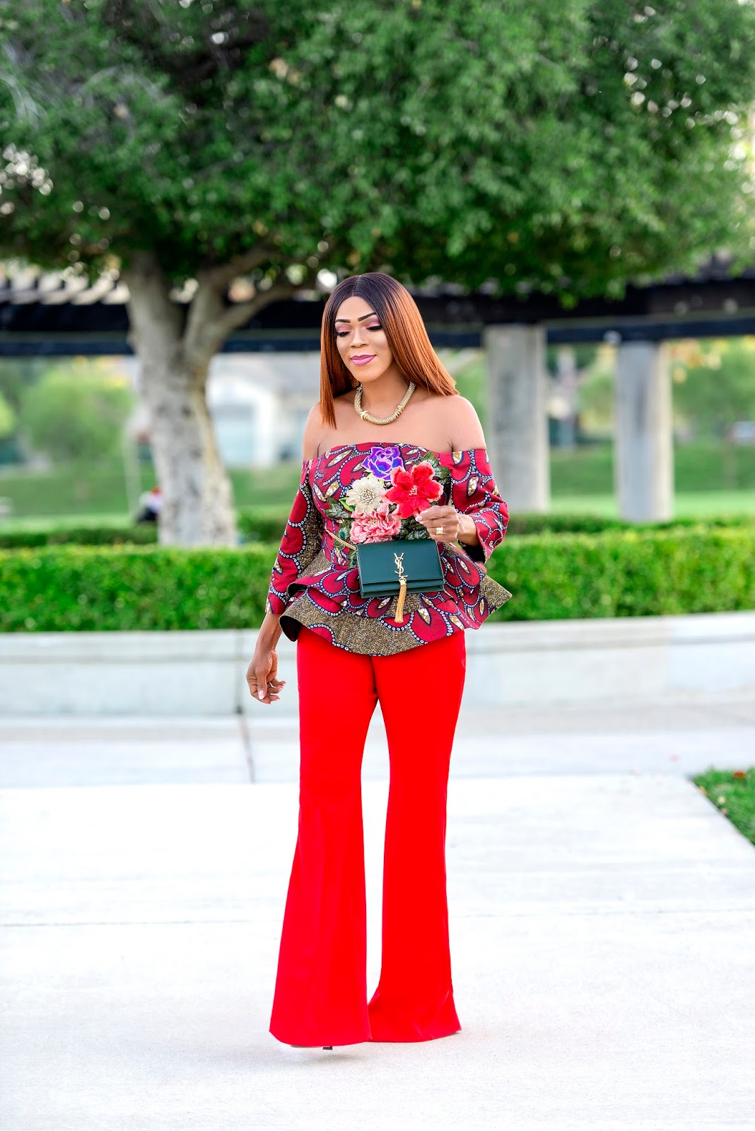 Ankara Peplum Top with Flared  Pants
