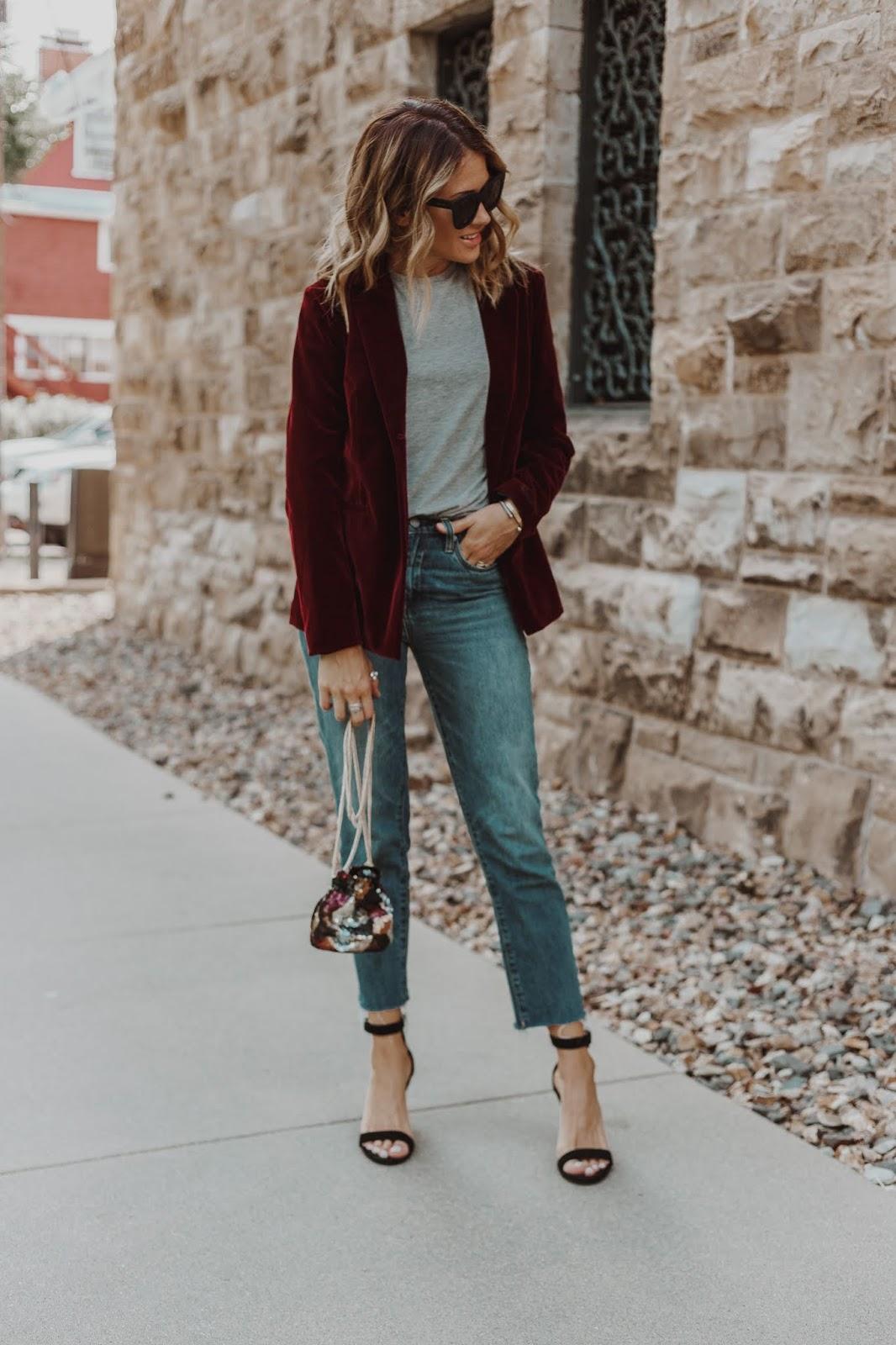 Velvet Blazer and Jeans