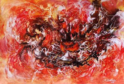Современная живопись в абстрактном стиле Танец Огня