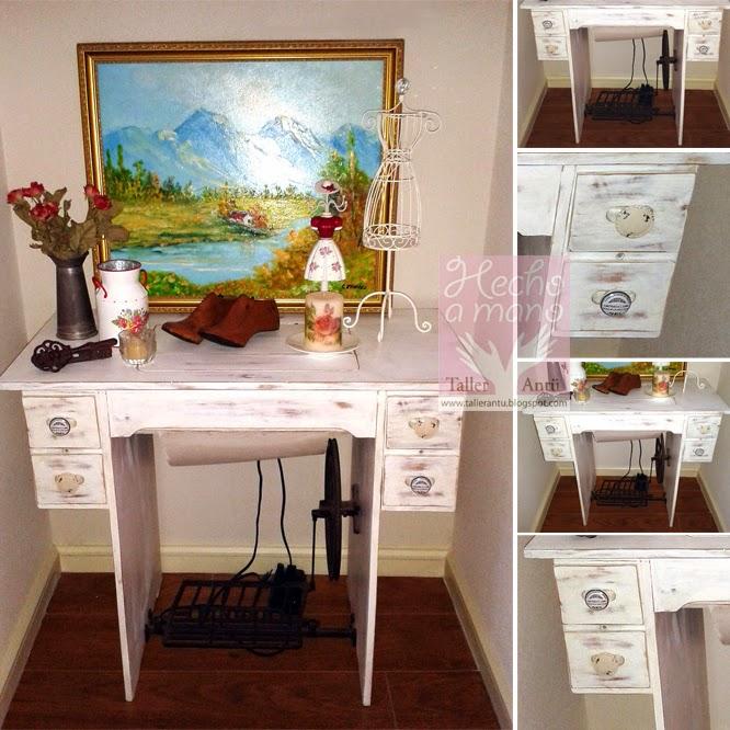 Taller ant 821 restauraci n m quina de coser for Como decorar una mesa de madera vieja
