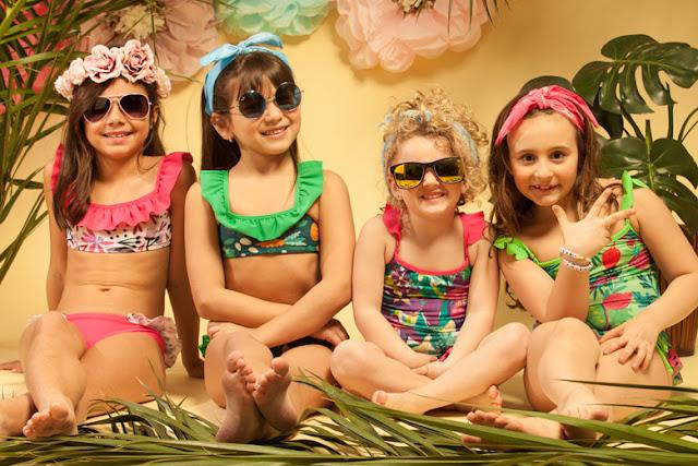Moda primavera verano 2018 para niñas y niños. Mallas y bikinis 2018 para niñas.
