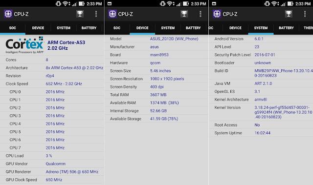 ASUS ZenFone 3 CPU-Z Info