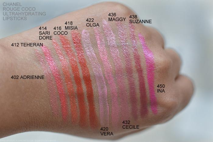 Chanel New Rouge Coco Lipsticks Swatches 402 Adrienne 412 Teheran 414 Sari Dore 416 Coco 418 Misia 420 Vera 422 Olga 432 Cecile 436 Maggy 438 Suzanne 450 Ina