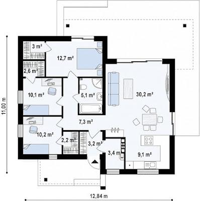 Mặt bằng nhà cấp 4 thiết kế 1 tầng