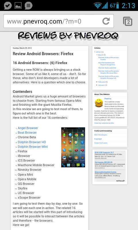 Review Android Browsers: Chrome Beta | Reviews by Pnevroq