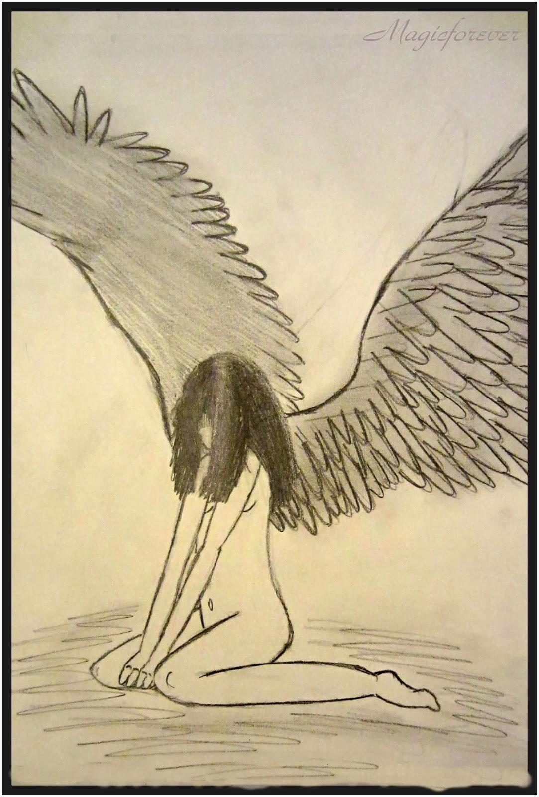 Sad angel, drawing, girl, angel, death,