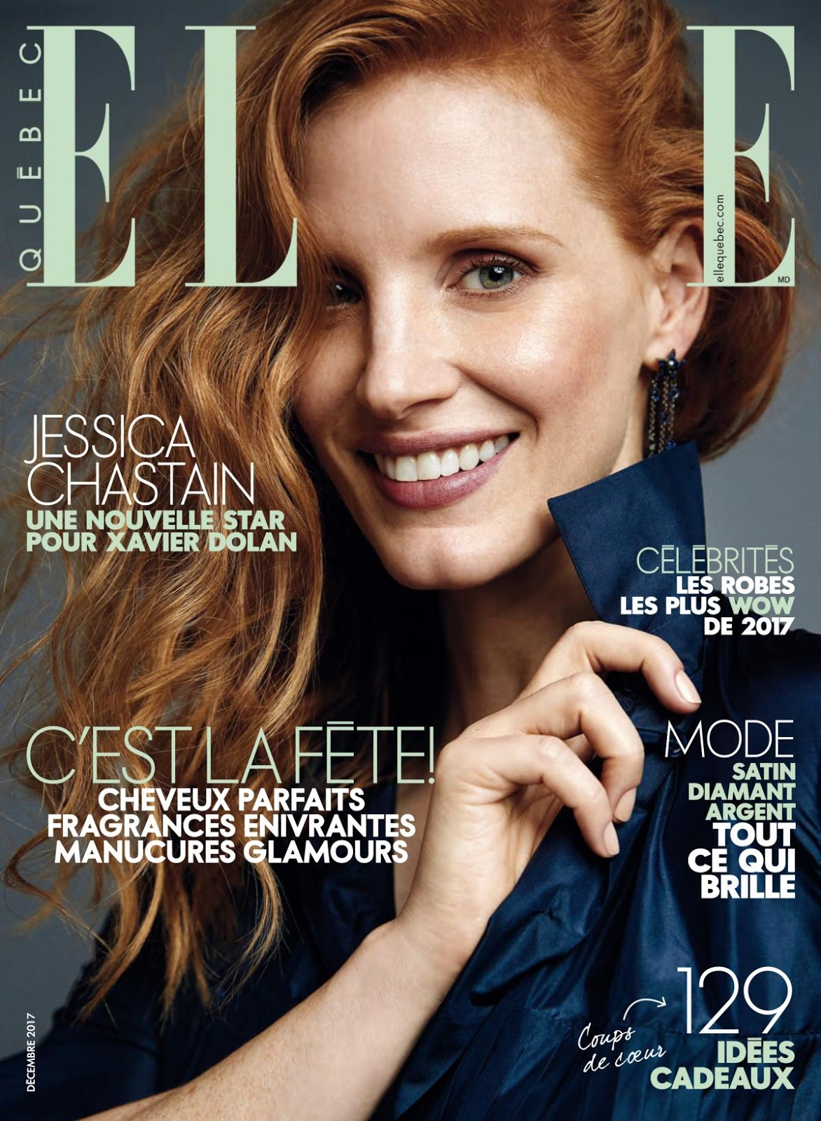 Photoshoot of Jessica Chastain in Elle Magazine, Quebec December 2017