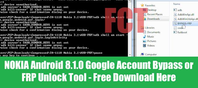 All NOKIA Android Smartphone ADB Mode FRP Unlock Tool Free