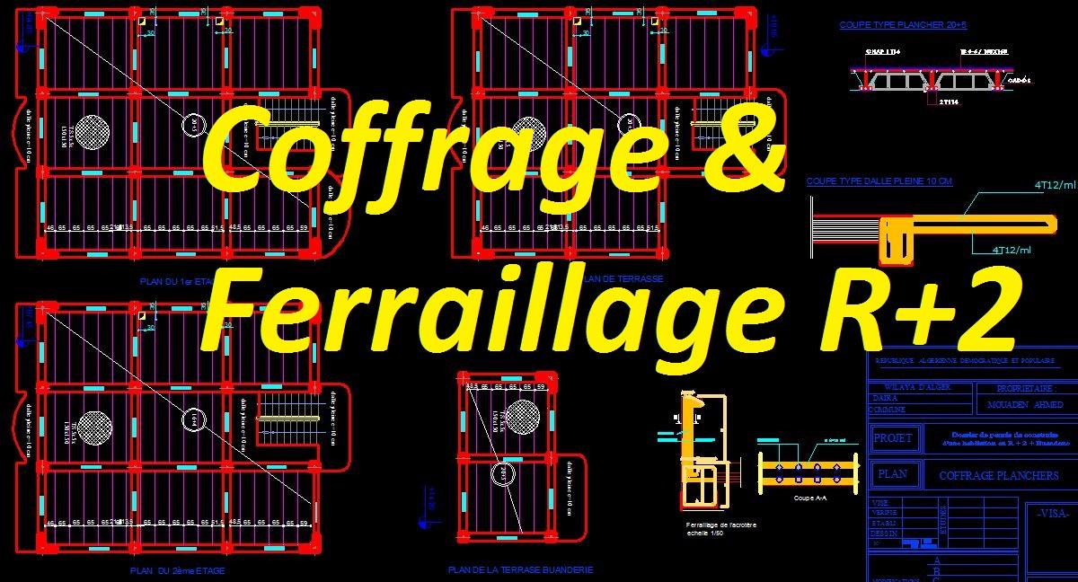 exemple de plan ferraillage et coffrage maison b timent r 2 dwg cours g nie civil outils. Black Bedroom Furniture Sets. Home Design Ideas