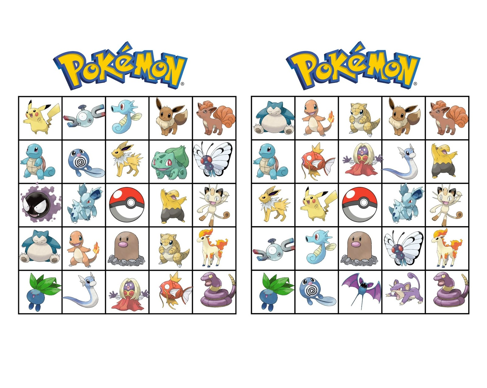 image about Printable Pokemon Party Games identified as Musings of an Ordinary Mother: Pokemon Bingo