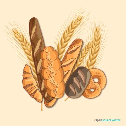 Ekmek, Buğday Vektör Çizimleri