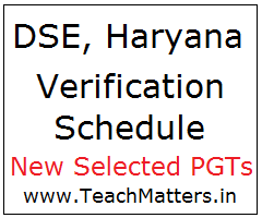 image : Haryana PGT Document Verification Schedule - New Selected PGT 2020 @ TeachMatters