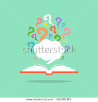 book with many question mark signs