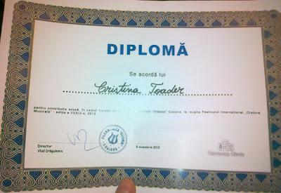 Diploma Festivalul International Craiova Muzicala