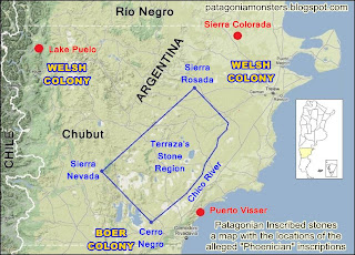 Map of Chubut showing location of Phoenician inscriptions