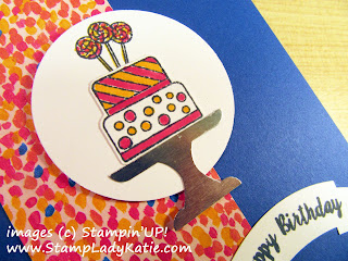 Birthday Card made with Stampin'UP!'s Piece of Cake Stamp set and Cake Builder Punch and decorated with paper from the Garden Impressions pack