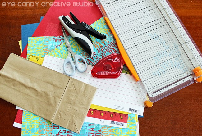 how to make, scrapbook paper, brown paper bag, teacher gift idea