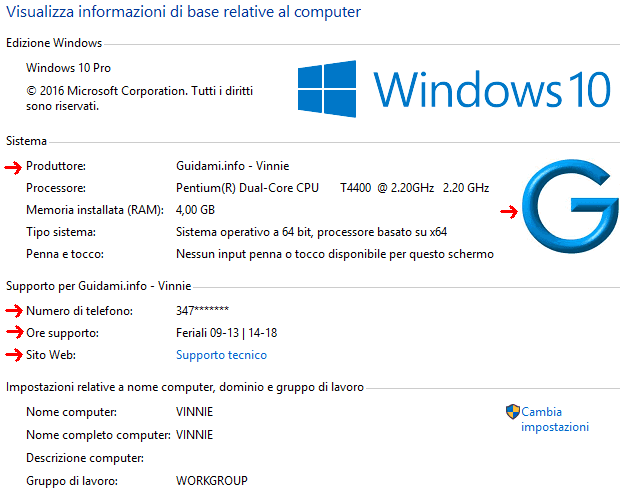 Windows finestra informazioni di sistema modificata da registro di sistema