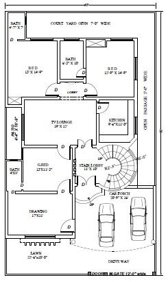 Civil Engineering: 10 Marla (2800 Sft) House Plan
