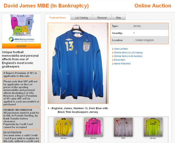 Bankrupt ex-England goalkeeper David James forced into auctioning football memorabilia