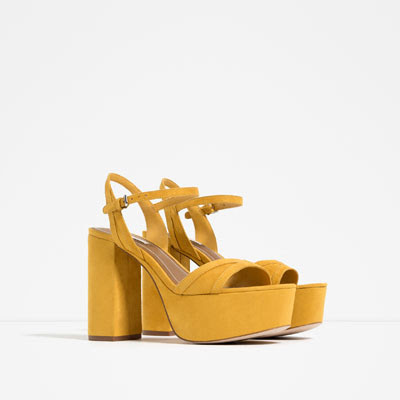 Zara yellow high heel platform sandals
