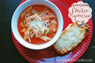 Slow Cooker Chicken Parmesan Soup from Eat at Home featured on SlowCookerFromScratch.com