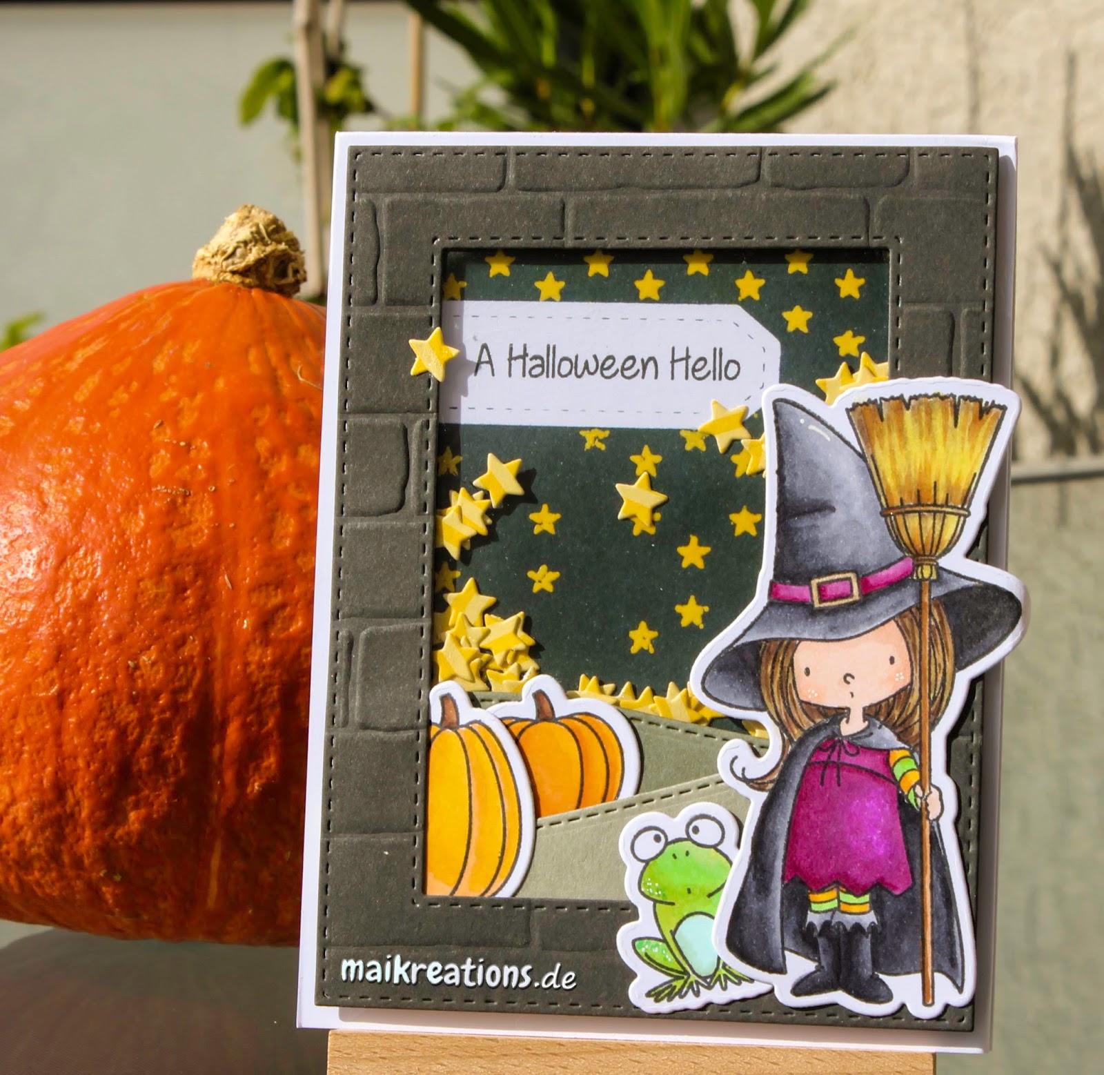 maikreations: Halloween Hello Shaker Card / Halloween Schüttelkarte