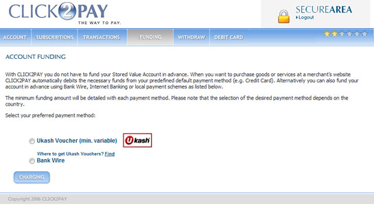 CLICK2PAY Account Deposit Screen