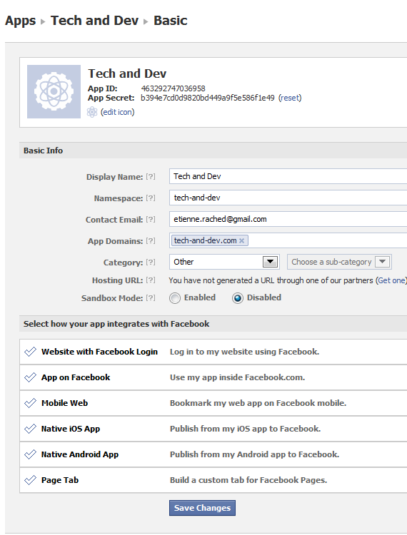 Facebook App Edit Settings