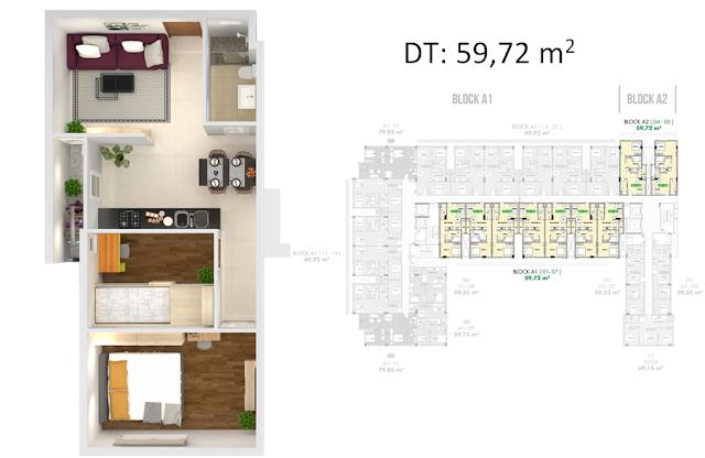 thiết kế căn hộ golf view tower 59.72