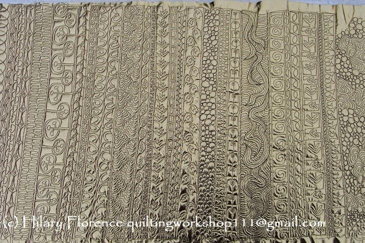 Hilary Florence Quilting Workshop - free motion quilting on metallic fabric trials