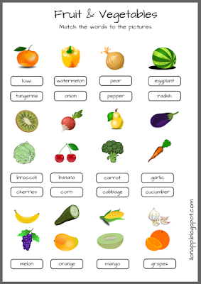 Fruit and vegetables matching