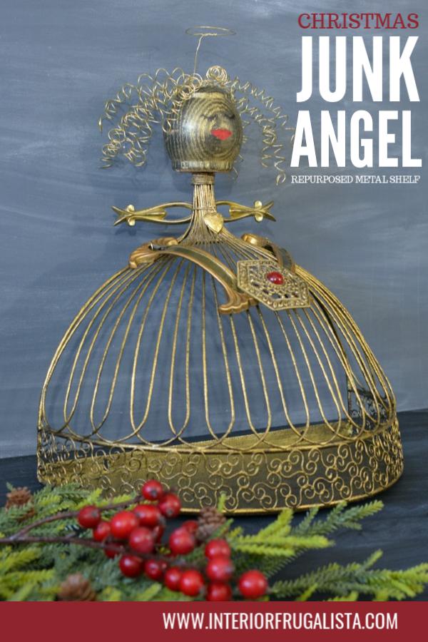 Christmas Junk Angel From A Repurposed Metal Shelf