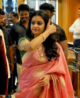 Keerthy Suresh in Pink Saree with Cute and Awesome Lovely Chubby Cheeks Smile 3
