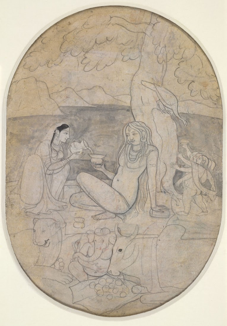Shiva, Parvati and their children on Mount Kailash - Drawing Late 18th Century