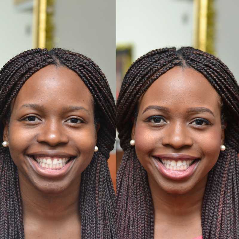 Before and After Natural Makeup on Black Girl