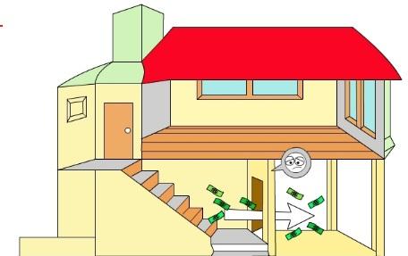 Cửa chính đối diện thẳng với cầu thang