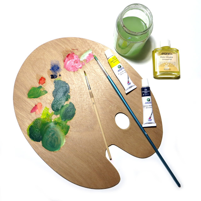 Water soluble oils allow you to clean the brushes with water and soap instead of using a toxic solvent like turpentine. You can also dilute water soluble oil paints with water (adding a little bit of paint at a time), but it's recommended to use linseed oil instead.