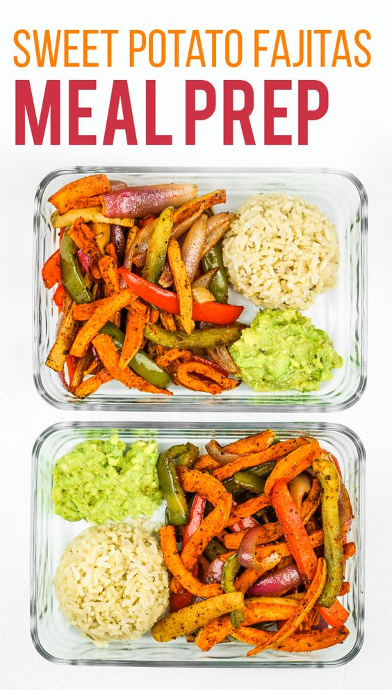 This sweet potato fajitas meal prep recipe couldn't be easier! Cook the seasoned veggies on a sheet pan and serve with rice and guacamole for a balanced, filling meal.