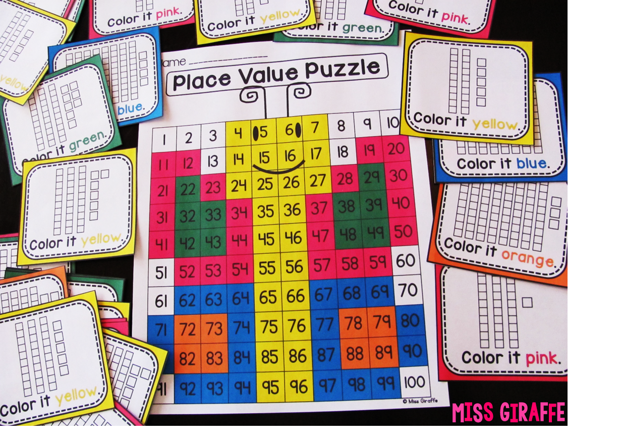 Butterfly place value puzzle where kids look at the base 10 blocks to figure out the number and color to reveal a butterfly - also comes with number cards instead of base 10!