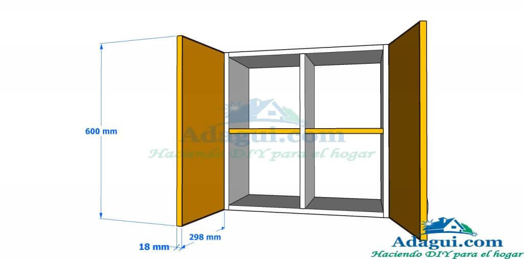plano y dise o con medidas mueble alto de cocina melamina On planos alacenas para cocina
