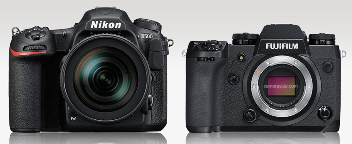 Сравнение габаритов Nikon D500 и Fujifilm X-H1