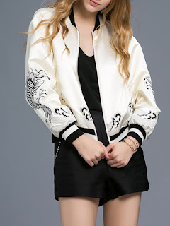 White Cotton-blend Embroidered Bomber Jacket