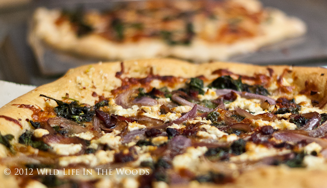 Pizza Bianca with Goat Cheese and Swiss chard