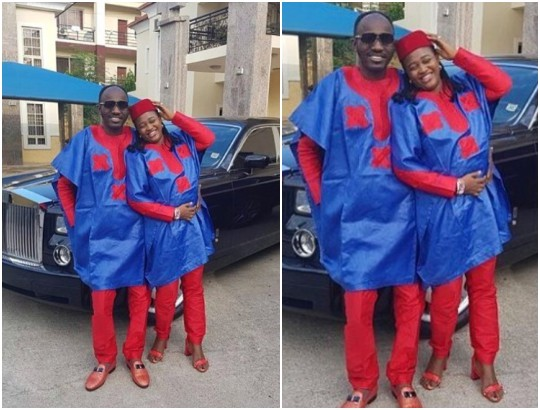 Beautiful photo of Apostle Johnson Suleman and wife rocking matching outfits
